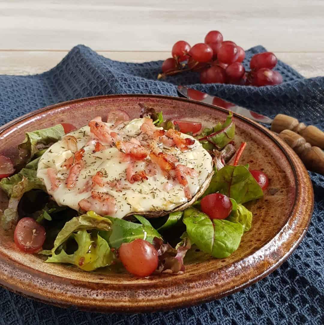 Portobello met gorgonzola en spekjes