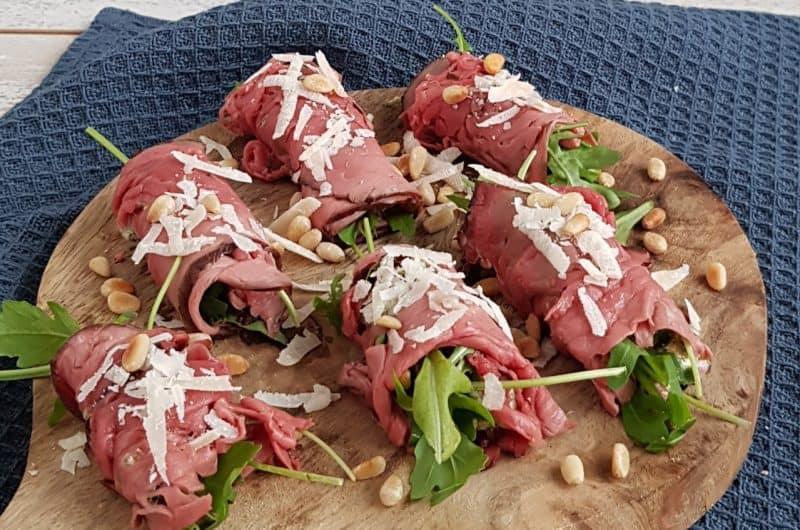 Recept rosbiefrolletjes met pesto