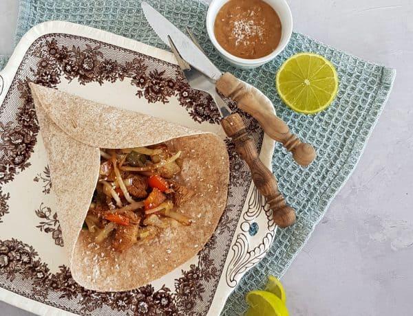 Tortilla met kip en groenten