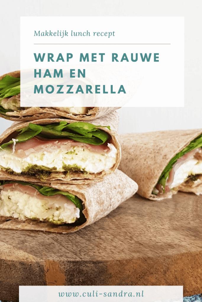 Wrap met mozzarella en rauwe ham