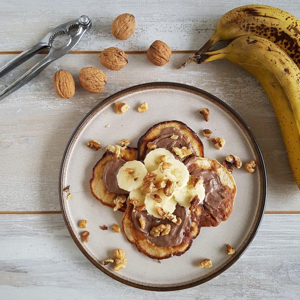 Pancakes met banaan en Nutella