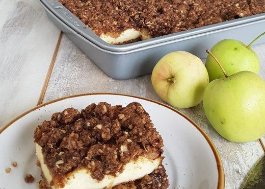 Appel cheesecake met crumbletopping