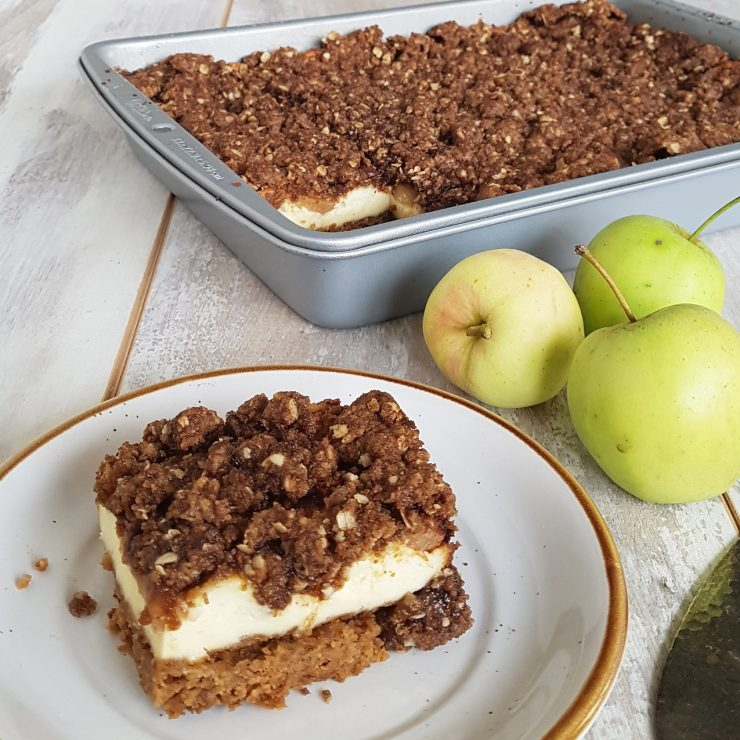 Appel cheesecake met crumbletopping