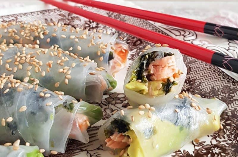 Spring rolls met zalm en avocado