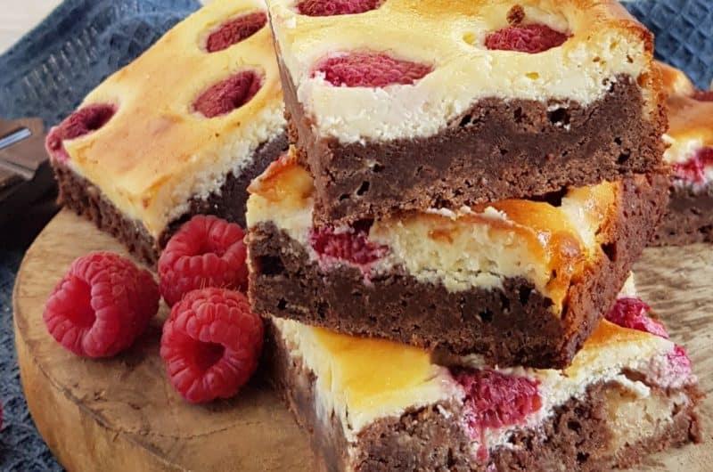 Recept frambozen cheesecake brownies