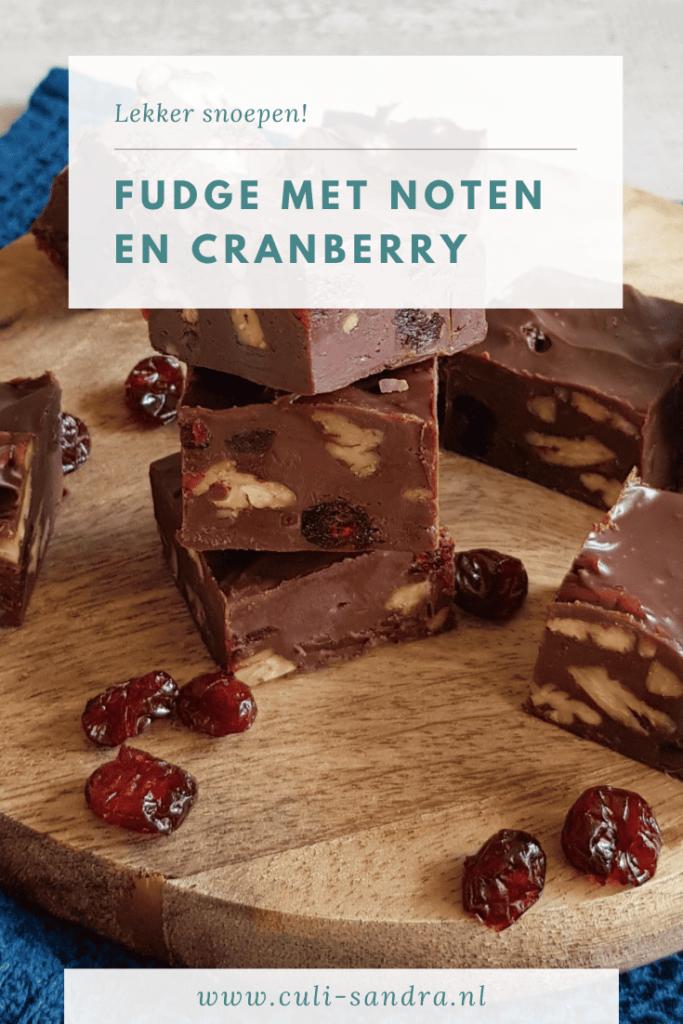 Fudge met cranberry