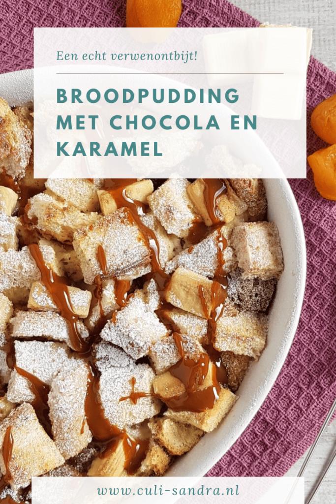 Broodpudding met chocolade en karamel