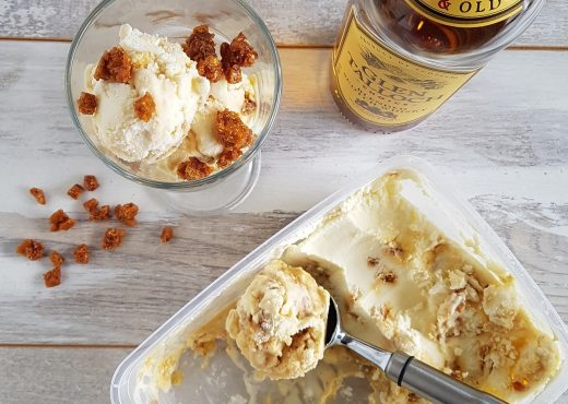 Whisky roomijs met bacon karamel crunch