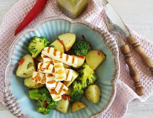 Halloumi met aardappelsalade