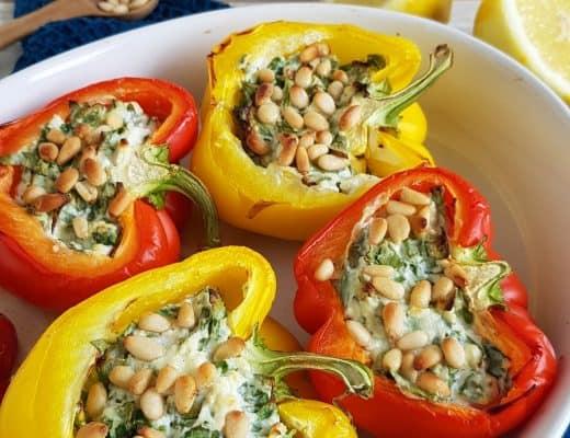 Paprika uit de oven met spinazie