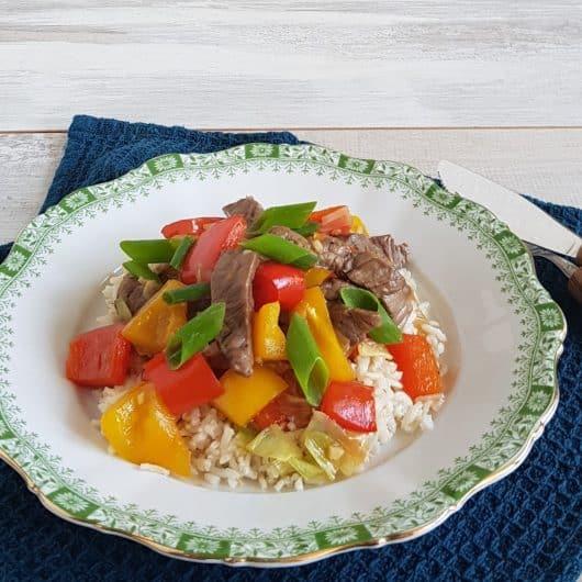 Biefstuk zoetzuur met rijst