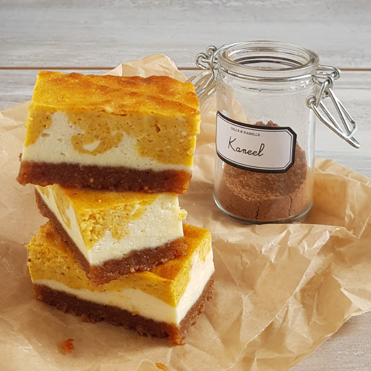 Pompoen cheesecake bars