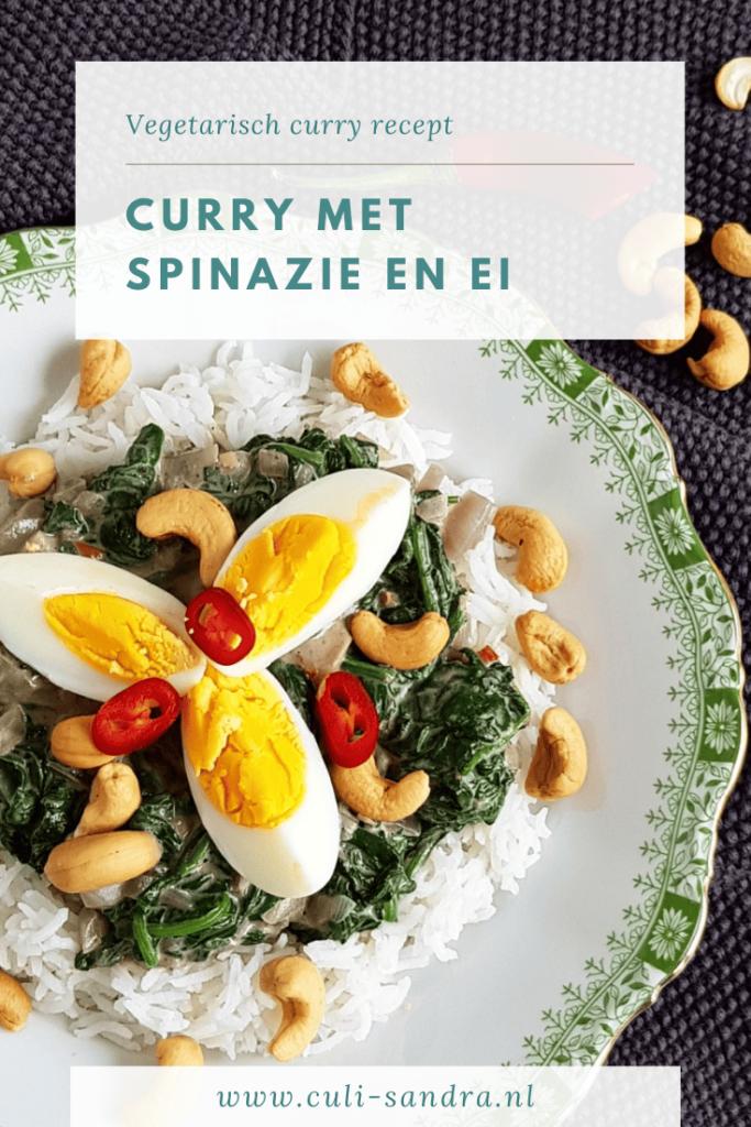 Vegetarische curry met spinazie