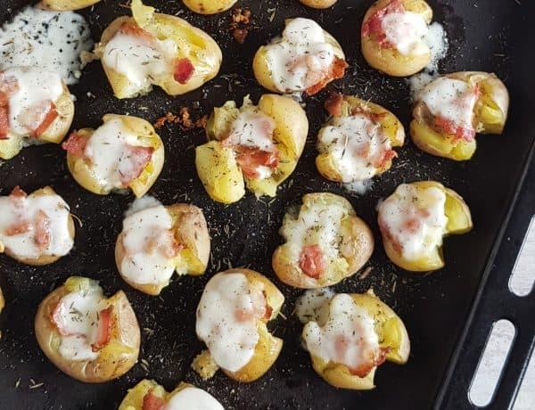 Oven-aardappeltjes met mozzarella en spek